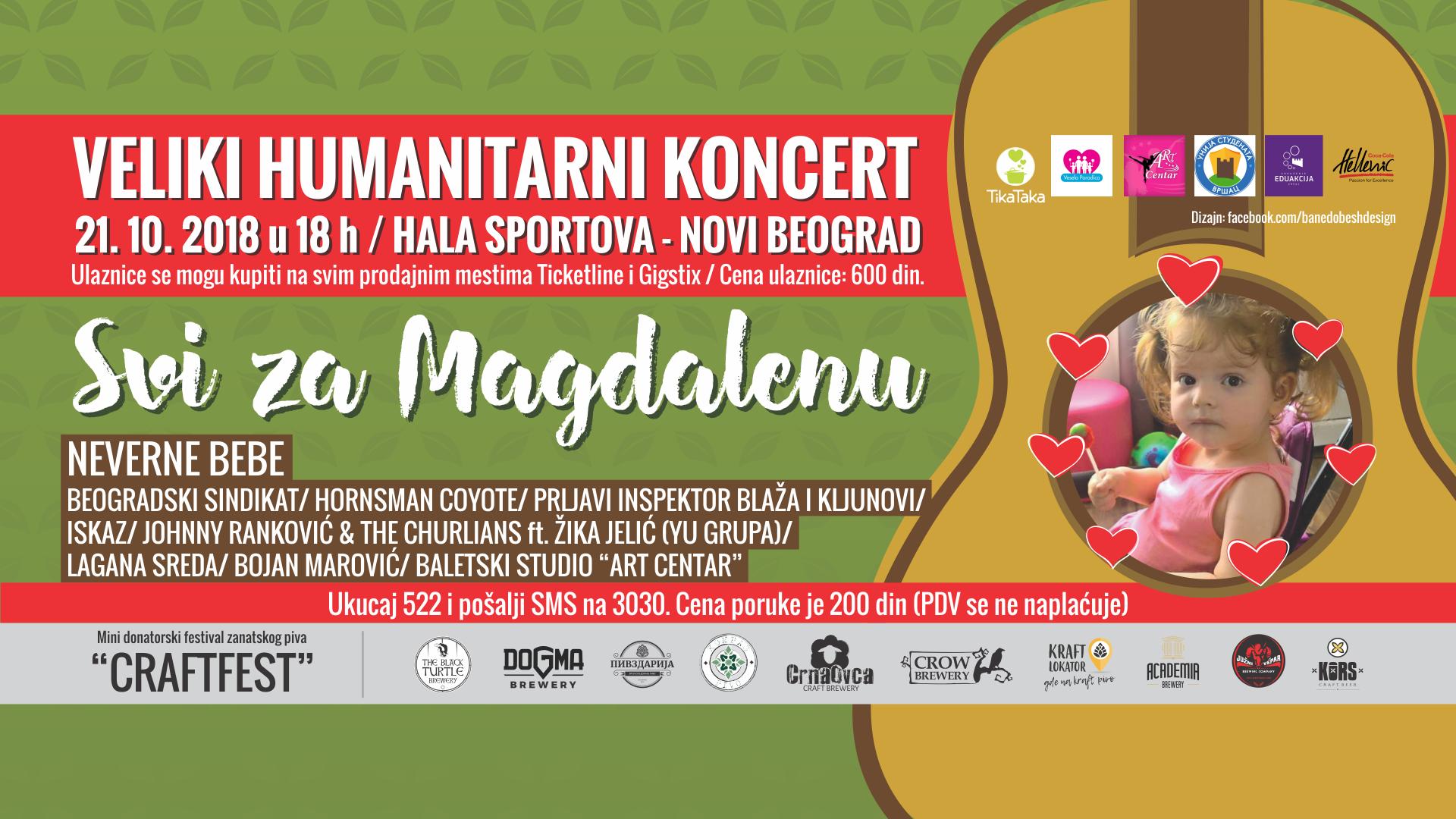 """Humanitarni koncert """"Svi za Magdalenu"""""""