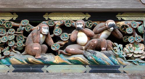 Učenje tri mudra majmuna iz hrama Tošogu